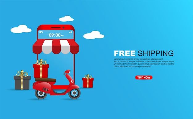Free shipping package by scooter on mobile phone banner template.