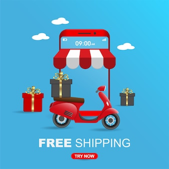 Free shipping package by scooter on mobile phone for social media.