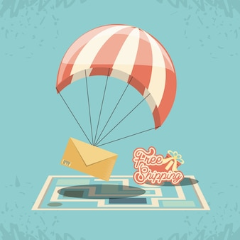 Free shipping service with parachute icon vector ilustration
