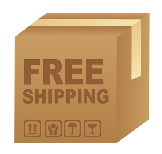 Free shipping text over cardboard box