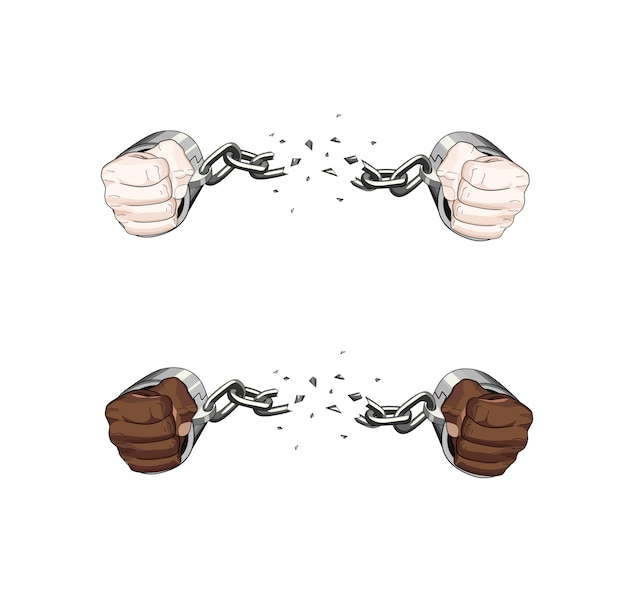 Free slave broken handcuffs chain. white and african hands. graphic illustration
