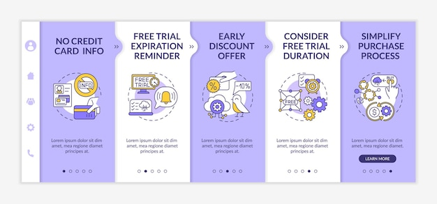 Free software as service trial onboarding  template. expiration reminder. simplifying purchase process. responsive mobile website with icons. webpage walkthrough step screens. rgb color concept