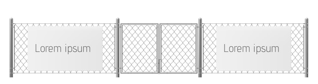 Free space, good place for visual outdoor advertisement realistic vector. white, blank billboard or placard on chain-link fence with metallic pillars and gate illustration. security warning