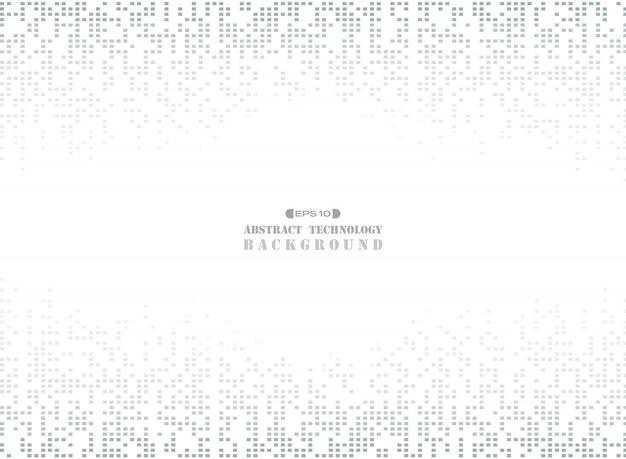 暗い灰色の正方形のパターンのピクセルの背景に未来の技術の真ん中に自由空間。