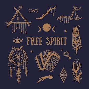 フリースピリット自由奔放に生きるコレクション。ドリームキャッチャー、羽、タロットカード、その他の神秘的なシンボル