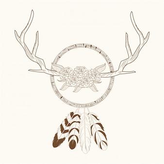 Free spirit dream catcher horns rustic