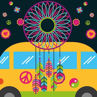 Free spirit van and dream catcher feather flowers
