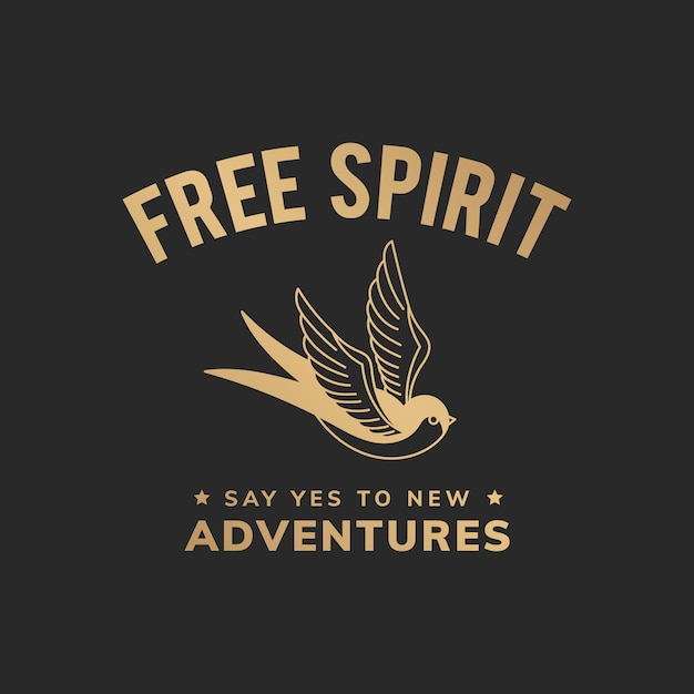 Free spirit vintage illustration
