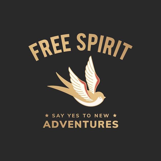 Винтажная иллюстрация свободного духа