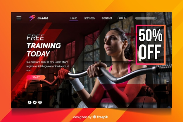 Free training today gym promotion landing page