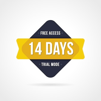 Free trial badges. 14 day access. banner stickers