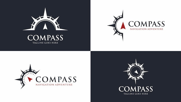 Free vector compass logo template pack