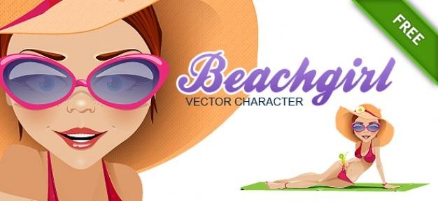 Free vector girl on the beach