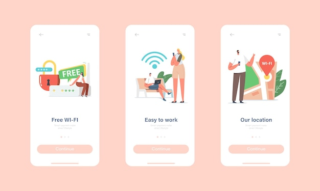Free wi-fi hotspot service mobile app page onboard screen template