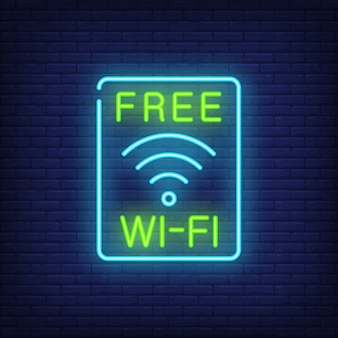 Free wi-fi neon sign. wi-fi access sign in blue rectangle. night bright advertisement