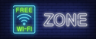 Free wi-fi zone neon sign. Wireless wav symbol in blue frame on dark brick wall.