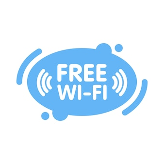 Free wi-fi zone sign in abstract line blue background vector illustration.
