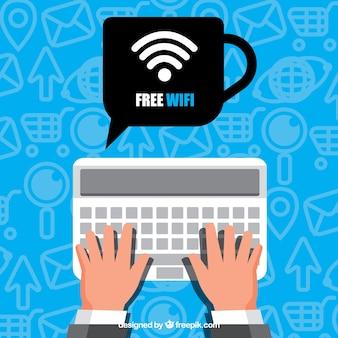 Sfondo wifi gratuito con tastiera e mani