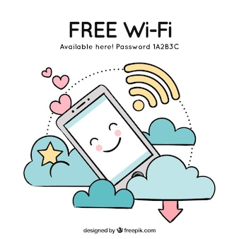 Free wifi background with mobile phone and clouds