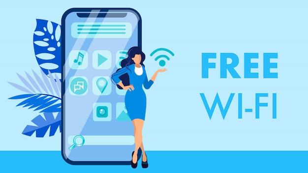 Бесплатный wi-fi, концепция мобильного интернет-баннера