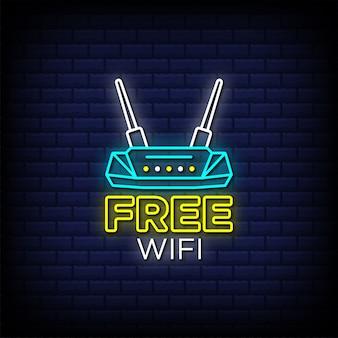 Бесплатный wi-fi неоновые вывески стиль текста