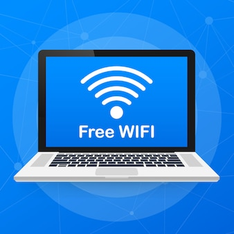 ラップトップで無料のwifiサイン。