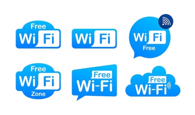 무료 와이파이 영역 파란색 아이콘. 여기에 무료 와이파이 기호 개념.