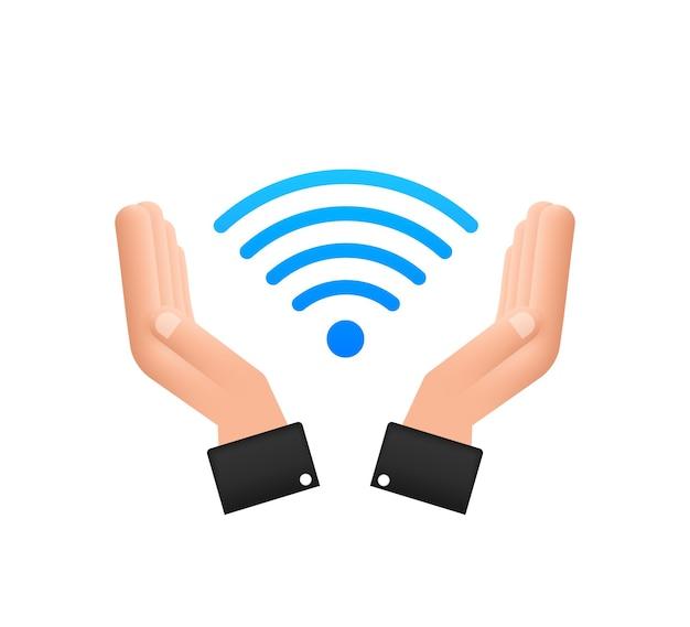 無料のwifiゾーンの青いサインインの手のアイコン。ここで無料のwifiサインコンセプト。ベクトルイラスト。
