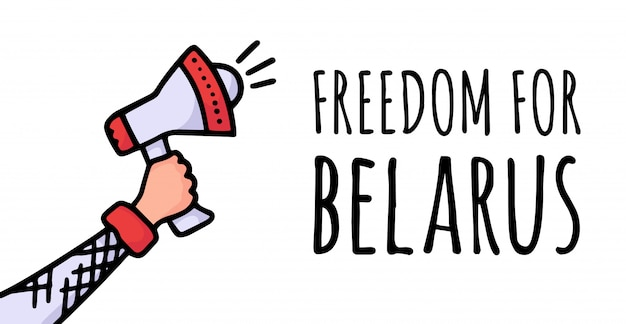 Freedom for belarus on the poster. protests in belarus after the  presidential elections. a raised speaker