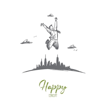 Freedom, businessman, work, happy, free concept. hand drawn businessman jumping far from city concept sketch.