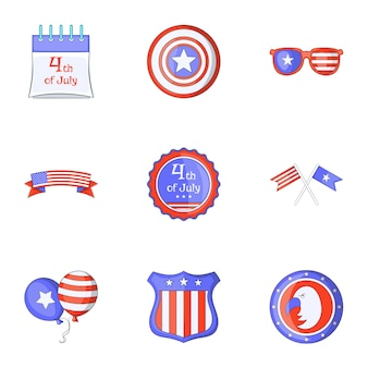 Freedom day icons set, cartoon style