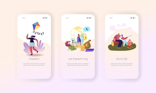 자유, 골든 케이지에서 탈출 모바일 앱 페이지 온보드 화면 템플릿. 골드 셀에서 탈출하는 여성 캐릭터 꿈