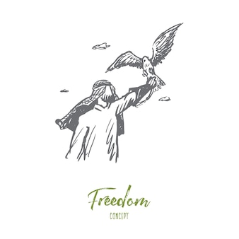 Freedom illustration in hand drawn