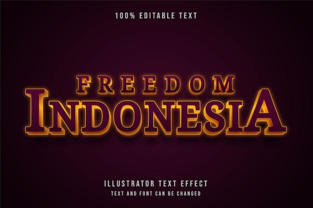 Свобода индонезия, редактируемый текстовый эффект 3d.