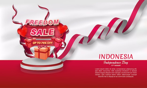 Freedom sale banner design with 76 percent discount offer and heart wrapped in flag ribbon