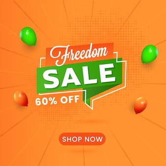 Freedom sale poster design with 60% discount offer and glossy balloons on orange halftone rays background.