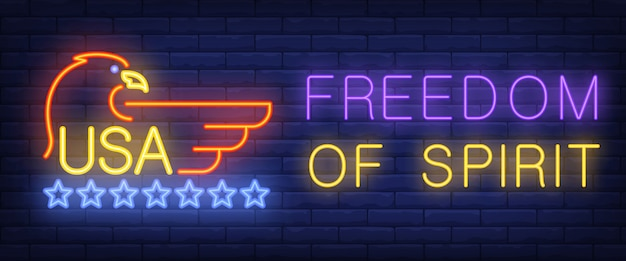 Freedom of spirit, usa neon text with eagle and stars