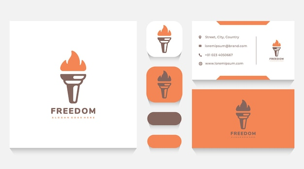 Freedom torch and flam logo template and business card