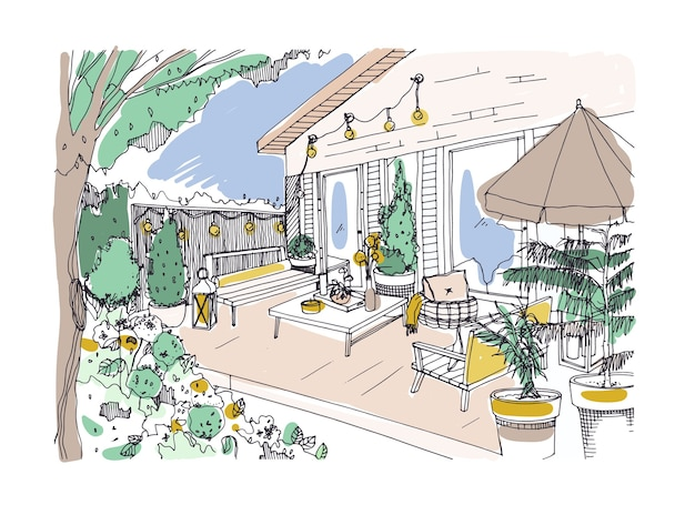 Freehand drawing of backyard patio or terrace furnished in scandinavian hygge style. house veranda with modern furniture