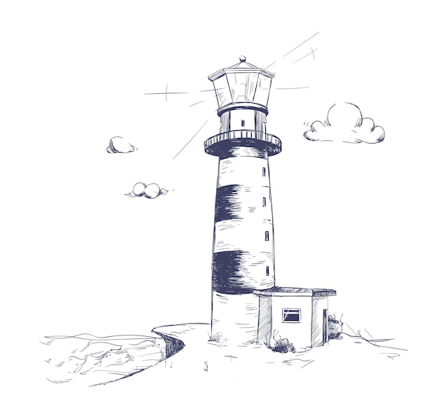 Freehand drawing of beautiful seaside landscape with lighthouse standing on rock cliff