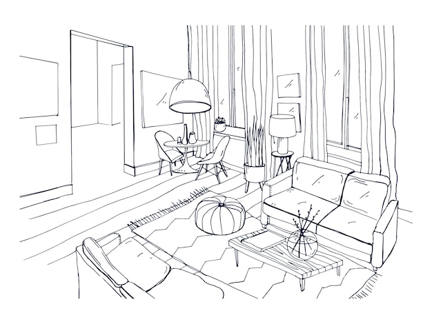 Freehand drawing of living room full of stylish comfortable furniture and home decorations. sketch of interior of modern apartment hand drawn in black and white colors. monochrome vector illustration.