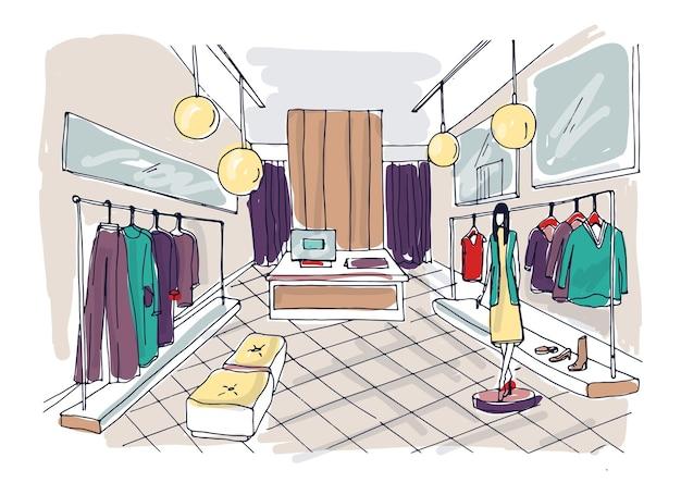 ハンギングラック、家具、スタイリッシュな服を着たマネキンを備えた衣料品ブティックのインテリアのフリーハンド描画。手描きのファッション店や流行のアパレルショップ。カラフルなベクトルイラスト。