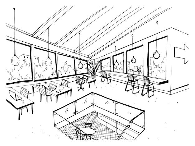 Рисование от руки открытого пространства или коворкинга с большими панорамными окнами и удобной мебелью. эскиз интерьера современного офиса рисованной в черно-белых тонах. иллюстрация.