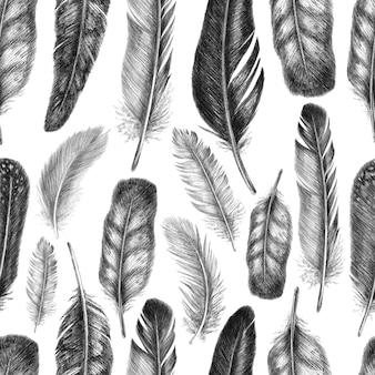 Freehand drawing quill of  feathers birds. tribal seamless pattern.