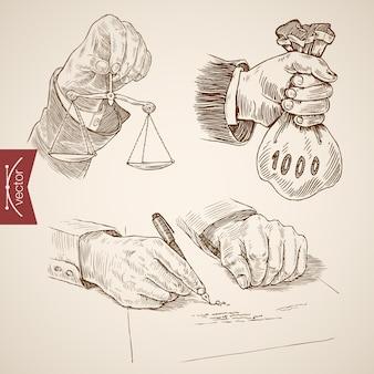 Disegno a mano libera. bilancia in mano. borsa dei soldi in mano. penna in mano.