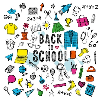 Freehand drawing school items on a white background with ink blots. back to school. vector illustration. set isolated objects.