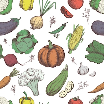 Freehand drawing vegetables vegetables seamless pattern