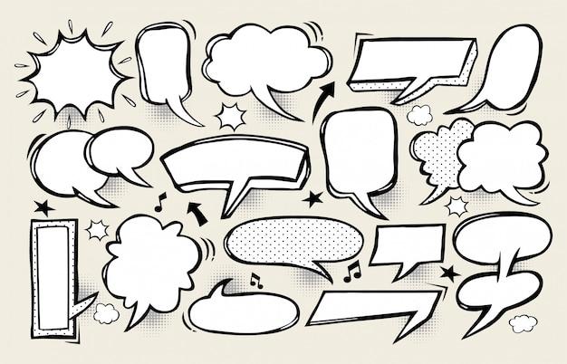 Freehand drawn comic book speech bubble cartoon on black background
