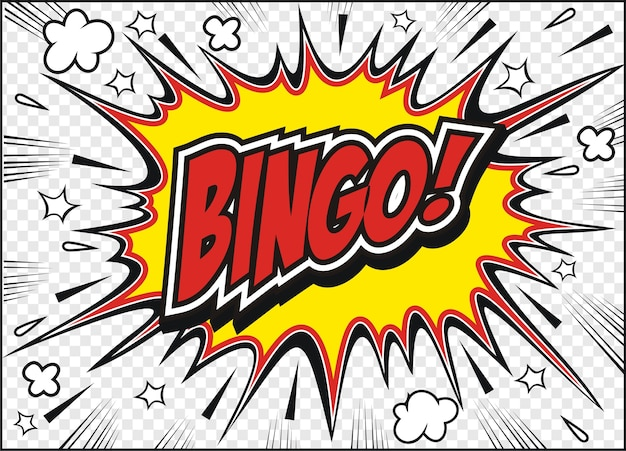 Freehand drawn comic book speech bubble cartoon word bingo