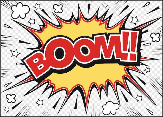 Freehand drawn comic book speech bubble cartoon word boom
